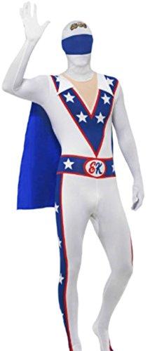 Fancy Ole - Herren Männer Kostüm Evel Knievel Second Skin mit Jumpsuit, Umhang und Gürteltasche, L, (Grease John Travolta Kostüme)