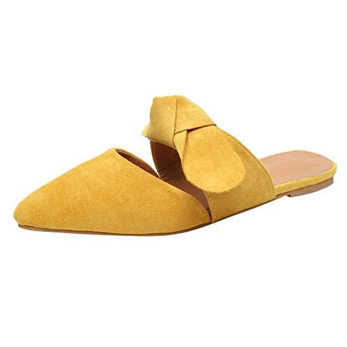 LILIGOD Frauen Sommer Einzelne Schuhe Hausschuhe Spitzbogen Pantoffeln Große Damenschuhe Strandpantoffeln Herde Freizeit Bequem Flache Schuhe Baotou Elegant Retro Mode Sandalen