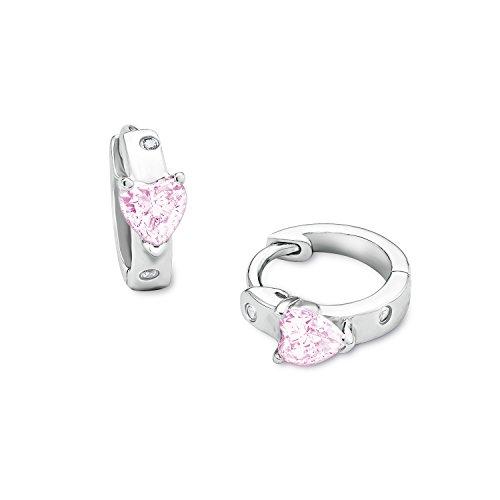 amor Mädchen-Creolen mit rosa Zirkonia-Herzen aus rhodiniertem 925er Sterling Silber