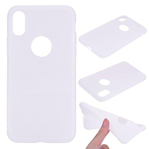 Nancen Case Apple iPhone X (5,8 Zoll) Handy Hülle Einfarbig Weiss. Weich TPU Silikon Case