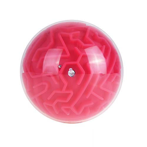 DDG EDMMS Mini 3D Magic Maze Puzzle Game Cube Boule Terre Boule Volume Labyrinthe Jouet Casse-tête Jeu d'apprentissage Education Cadeau de Jouets éducatifs Rouge (Facile)