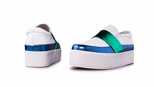 Sapatos Retro Celebridade Mocassins Plataforma De Branco Sapatos Moda Deslizamento Moda Em Mulheres UUBwT