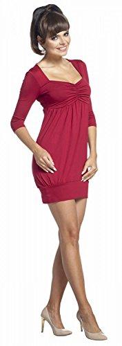 Zeta Ville - Tunique mini robe décolleté en coeur - manches 3/4 - femme - 957z Cramoisi