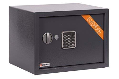 Brihard Family Caja fuerte Electrónica, 25x35x25cm HxWxD, Gris Titanio