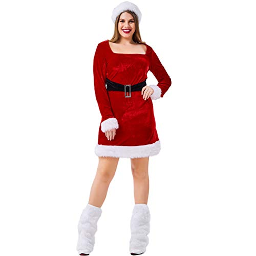 AlonSwallow Frauen Plus-Size Sexy Santa One-Piece Cosplay Weihnachten Kostüm Kleid Mrs Santa Claus Red Elegante Weihnachten Kostüm Set (Kleid + Hut + Fuß Abdeckung),L