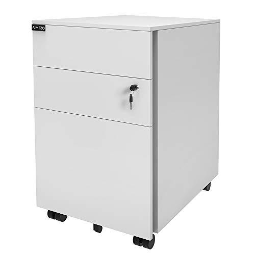 AIMEZO Mobile Aktenschrank Nachttisch Bürodokumente Schränke mit 3 Schubladen 5 Rollen Mobiles Büromöbel (Weiß)