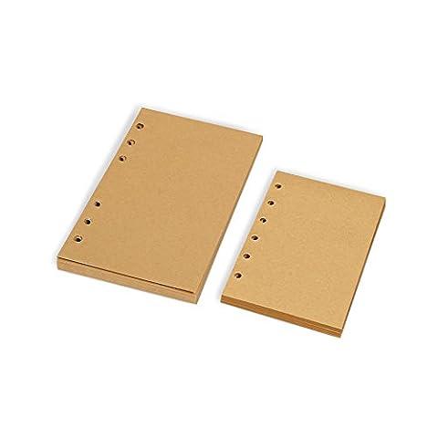 Zhi Jin Standard 6trous rechargeables de remplissage inserts en papier journal ordinateurs portables agendas bloc-notes 80feuilles A5-Kraft