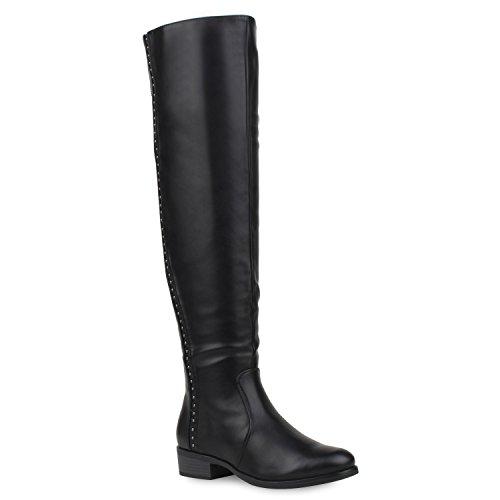 Basic Damen Overknees Schleifen Stiefel Samt Flach Langschaftstiefel Overknee Boots Blockabsatz Schuhe 105793 Schwarz Avion 37 ()