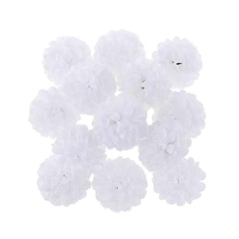 30x Daisy Craft Artificial Flower Silk Spherical Heads Wedding Decor - White
