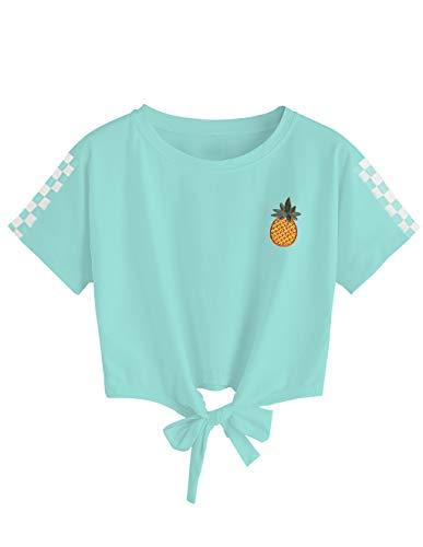 T-Shirt Ado Fille à La Mode, T Shirt Femme Imprimé Ananas Été Sport Tee Shirt Printemps Chic Blouse Pas Cher Chemisier Chemise Shirt Haut Tops Streetwear (A-Vert, M)