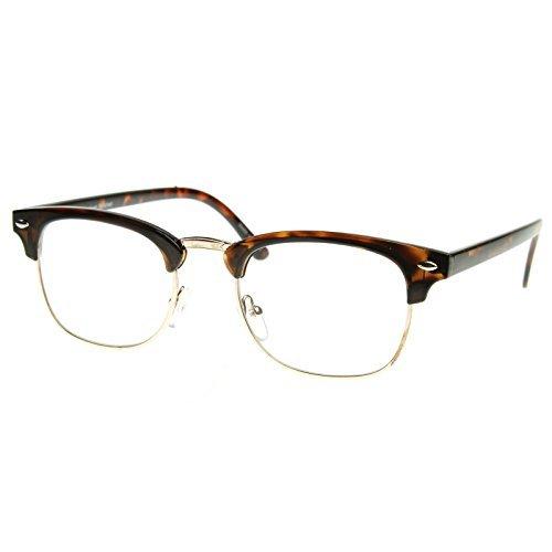 MLC EYEWEAR ? Vintage Inspired Classic Half Frame Nerdy Glasses UV400 Clear Lens by MLC Eyewear