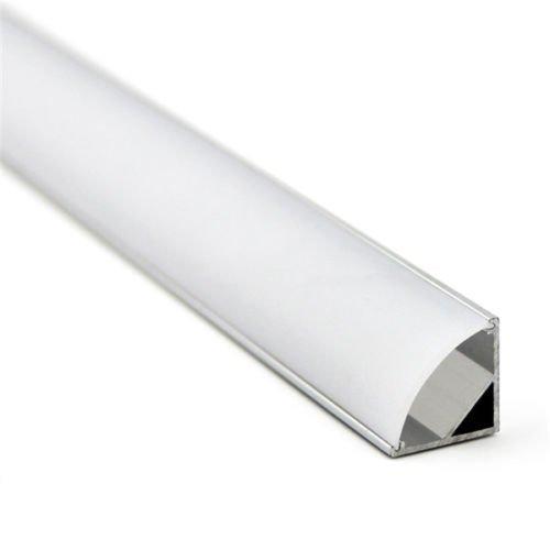LineteckLED - E12.029.01A Kit di 6 Profili in Alluminio Anodizzato Angolare con Copertura Trasparente in Plexiglass da 1metro per Strisce LED