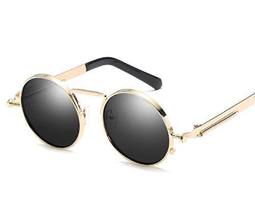 Wghz Vintage Runde Steam Sonnenbrille Frauen Männer Mode Retro Kreis Metall Steam Sonnenbrille Männer Gold Schwarz Brille UV400
