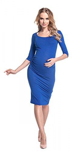 Happy Mama Femme. Maternité Robe moulante à encolure carré et manches 3/4. 939p Bleu Royal