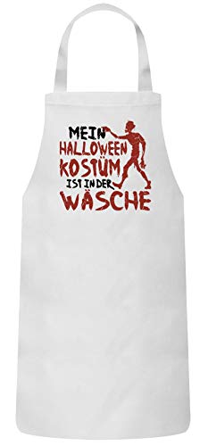 Zombie Kostüm Gruppe - ShirtStreet Grusel Gruppen Frauen Herren Barbecue Baumwoll Grillschürze Kochschürze Zombie - Mein Halloween Kostüm, Größe: OneSize,Weiß