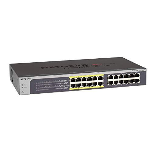 Netgear JGS524PE 24-Port Gigabit Ethernet LAN PoE Switch Smart Managed Plus (mit 12x PoE 100W, Desktop- oder Rack-Montage mit ProSAFE Lifetime-Garantie)