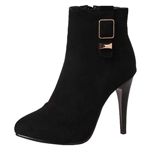 Artfaerie Damen Stiletto Boots High Heels Spitze Stiefeletten 10 cm Absatz mit Reißverschluss Elegant Party Schuhe (EU 41,Schwarz)
