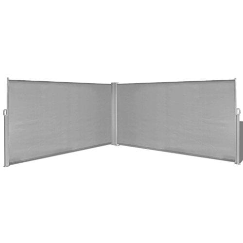 Tidyard tenda da sole paravento, laterale frangivento con paravento estraibile esterno doppio, 600 x 160 cm, pa e telaio in acciaio, grigio