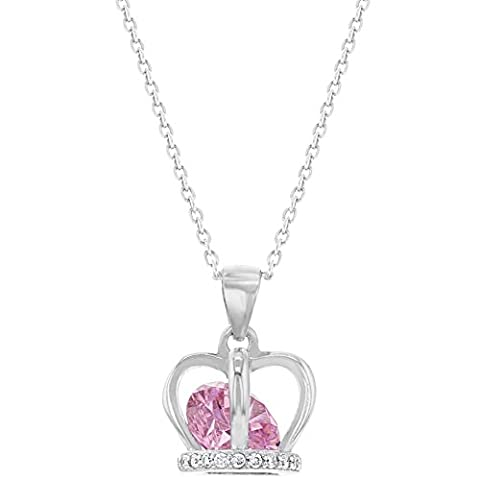 925Sterling Silber Rosa CZ Krone Anhänger Halskette Mädchen Kinder Teens 40,6cm