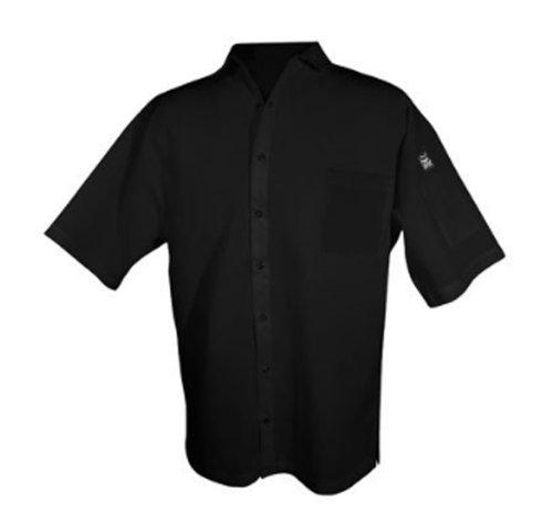 Chef Revival cs006bk 24/7Poly Baumwoll-Mischgewebe Short Sleeve Unisex Cook Shirt mit Schnappverschluss, klein, schwarz -