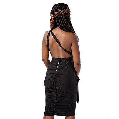 PU&PU Robe Aux femmes Gaine Sexy / simple,Couleur Pleine Une Epaule Au dessus du genou Polyester BLACK-S