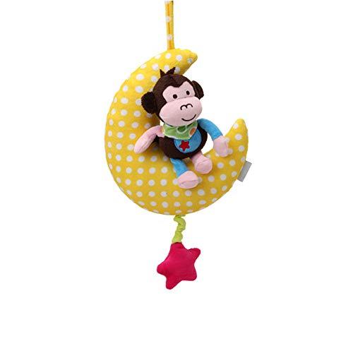 Romote 1 Stück Mond-Baby-Hang Bell-Wind-up Musical Kuscheltier Kinderwagen Krippe Glocke hängt Plüsch-Spielzeug-Baby-Geschenk (Kleiner AFFE Pattern) (Wind-up-krippe-mobile)