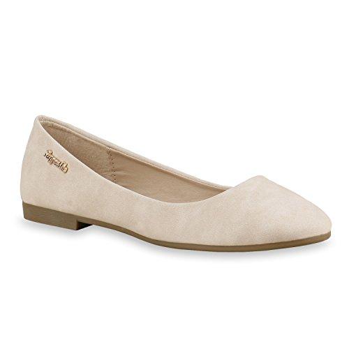 Klassische Damen Strass Ballerinas Elegante Slipper Übergrößen Metallic Glitzer Flats Schuhe 134616 Creme Gold 36 Flandell - Gold Ballet Flat