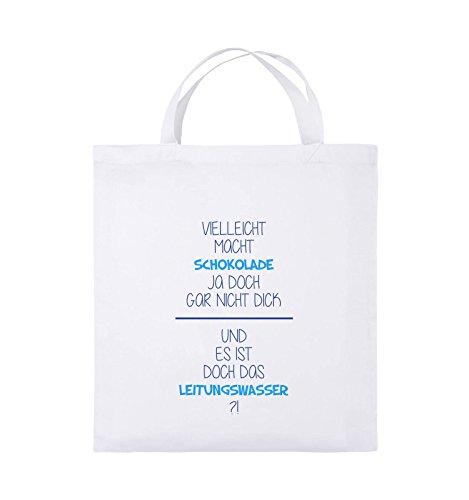 Comedy Bags - Vielleicht macht Schokolade ja doch gar nicht dick. - LEITUNGSWASSER - Jutebeutel - kurze Henkel - 38x42cm - Farbe: Schwarz / Weiss-Neongrün Weiss / Royalblau-Hellblau