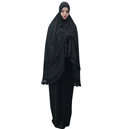 Bibel Kostüm Kinder Figur - Lazzboy Moslemische Frauen-Doppelschicht-moschee-Spitze-Roben Großen Maßstab Dubai-Strickjacke Ramadan Muslime Kleidung Muslim Abaya Muslimische Kleid Kleider Weibliche Robe Cardigan(Schwarz)