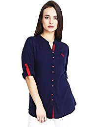 0828474e5 Mitaha Navy Blue Shirt Women Girls Embroidered Rayon Cotton Top Shirts for  Dailywear Casual Women