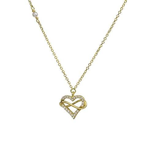 aion Collier Massiv Gold 585 Gold Kette mit Anhänger - Herz Gelbgold 14K Goldherz Halskette 45 cm