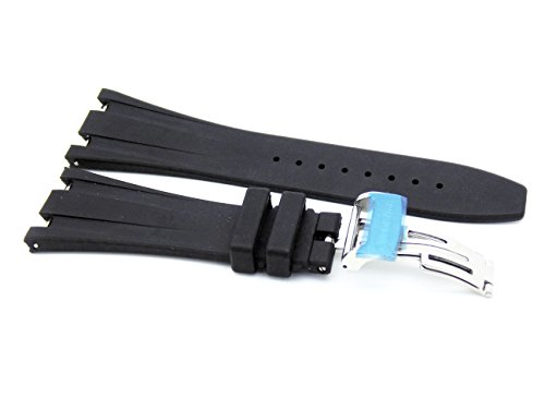 28mm Black Rubber Strap with Deployment Clasp Made To Fit To Audemars Piguet Royal Oak