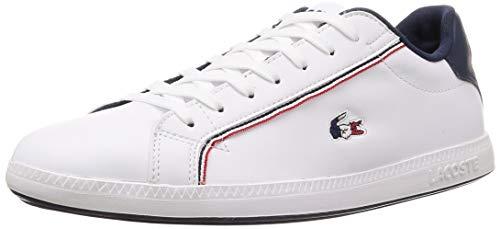 Lacoste Herren Graduate 119 3 SMA Sneaker, Weiß (Wht/NVY/Red 407), 42 EU