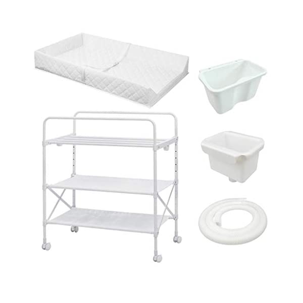 Changing Table Baby Changing Table Folding with Changing Mat Nursery Diaper Care Organizer Baby Changing Station for Baby Bath with Tube Changing Table ●Size and Safe and Stable- 85 x 50 x 132cm,Suitable for babies weighing less than 25kg,With seat belt,Changing pad has a restraining strap for added safety and is made of easy to clean, soft ●2-in-1 design- Baby changing table can be used as baby massaging table as well. It is designed at the proper height of parent to prevent mom's back aches and pains from kneeling or bending when changing diapers to babies. ●Premium materials - Using high-quality materials for our 2 in 1 infant changing table,Reinforced wood,it is durable and stable for long time daily use,And easy to clean and maintain. 1