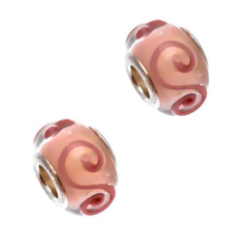 Acosta-Perline in vetro di Murano, colore: rosa con motivo a vortice, sistema Slide-On-Off & braccialetto, Set da 2 pezzi, placcato argento
