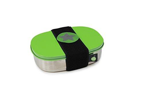 do dotty BOX schadstofffreie Edelstahl Brotdose (16,5x12x4) mit Trennsteg und Klettmotiv zum individualisieren für Kindergarten und Schule (grün)