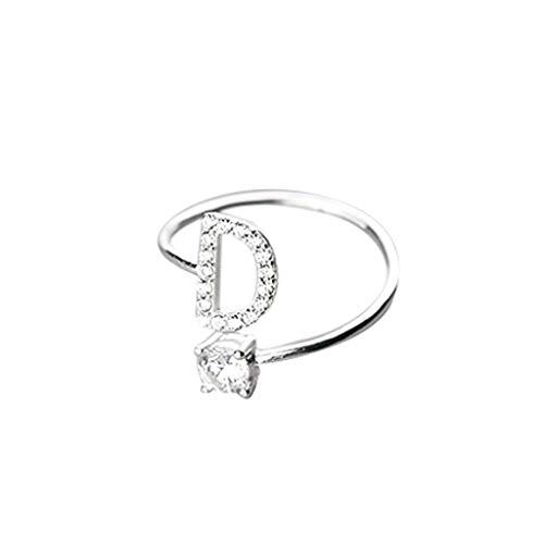 UINGKID Schmuck Damen Ring Modische und einfache Öffnung 26 Buchstaben mit Diamant Ring Damen Schmuck -