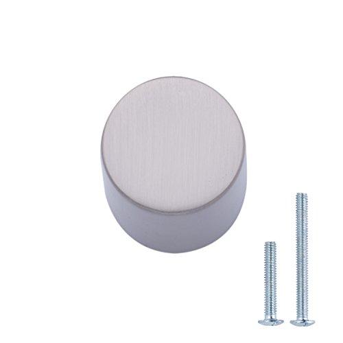 AmazonBasics - Schubladenknopf, Möbelgriff, Pfeifen-Optik, Durchmesser: 1,9 cm, Satinierter Nickel, 25er-Pack