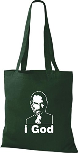 ShirtInStyle Stoffbeutel Steve Jobs in Memory of Baumwolltasche Beutel, diverse Farbe bottle green