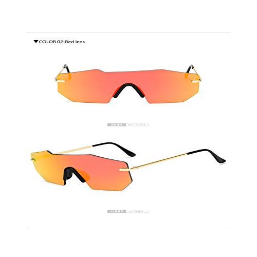 Sportbrillen, Angeln Golfbrille,Longkeeper Polygon Borderless Fashion Big Frame Sunglasses Square Sunglasses For Men Women Luxury Brand Designer Female Gafas red lens