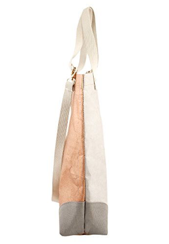 Adelheid Damen Herzallerliebst Streifen Einkaufstasche Vegan. Le. Henkeltasche, Grau (Silbergrau), 10x45x40 cm - 3