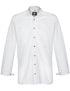 Herren OS-Trachten Stehbundhemd weiß, weiß,