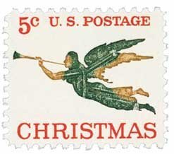 #1276 - 1965 5c Christmas Angel Postage Stamp Numbered Plate Block (4) by US Postal Service Christmas Plate Block