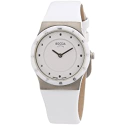 Boccia Women's Quartz Watch with White Dial Analogue Display and White Leather Strap B3202-01