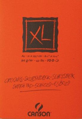 "Canson 200787302 XL Skizzen Blocks, leicht gekörnt, 90 g/m², 100 Blatt pro Block""an der kurzen Seite geleimt"", 210 x 297 mm, creme"
