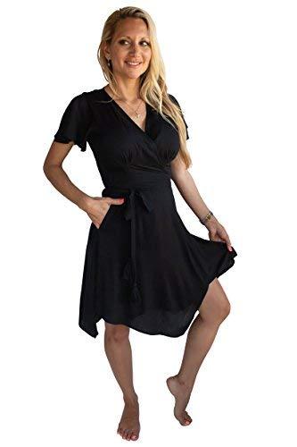 PIYOGA Damen Reisen Midi-Kleid Flowy Bohemian Short Sleeve High-Low Wrap US W 0-8 Schwarz ist das Neue Schwarz (Petite 0 Kleid)