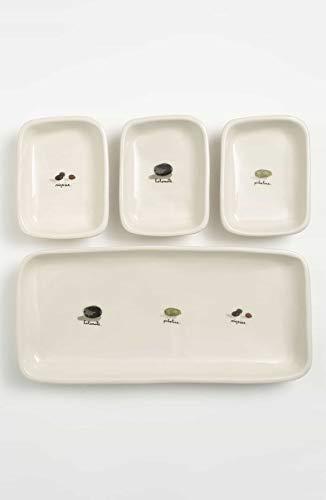 Rae Dunn Magenta 4 pièces d'Olive mise en bouche coupelles à apéritif (3) et ensemble de plateau de service