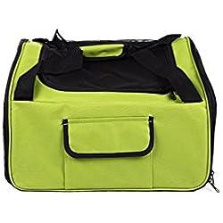 SHENCHI jaula de seguridad del coche del gato perro mascota de almacenamiento portátil puede ir equipaje de mano . green