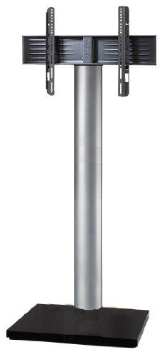 Glas Mdf Tv-ständer (VCM TV Standfuß LED Ständer Fernseh Standfuss Alu Glas Stahl Universal VESA Mobil Rollen Fahrbar Bodenplatte