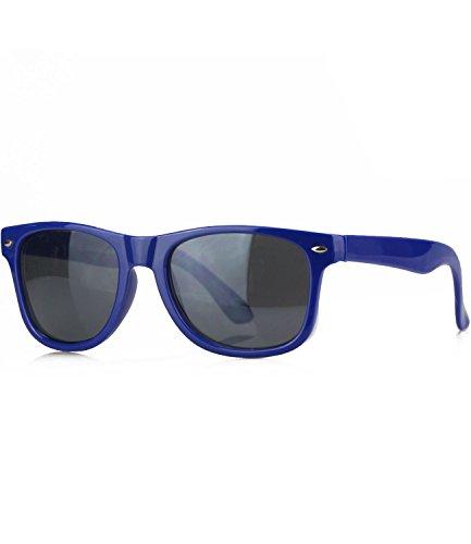 Caripe Kinder Mädchen Jungen Sonnenbrille Wayfarer Retro Design verspiegelt + getönt - barna (blau - smoke getönt -ff)